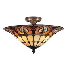 Dale Tiffany 3-Light Antique Golden Sand Dylan Tiffany with Semi Flush Mount-TM100598 at The Home Depot