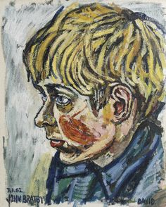 Portrait of the artist's son, David, with blue coat signed and dated '7.1.62/JOHN BRATBY' (lower left) and inscribed 'DAVID' (lower right), oil on canvas 50 x 40cm (19 11/16 x 15 3/4in).