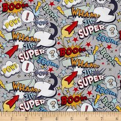 Riley Blake Super Hero Words Grey from @fabricdotcom  Designed by RBD Designers for Riley Blake Designs, this cotton print is perfect for quilting and craft projects as well as apparel and home decor accents. Colors include red, yellow, black, orange and