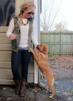 cute outfit- love the vest && that puppy!