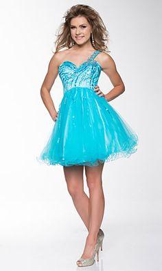 beaded one shoulder short prom dress blue