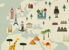 Wohnen mit Kindern: Ein beliebtes Poster für's Kinderzimmer sind bunte Weltkarten. Hier eine kleine Auswahl schöner Weltkarten für Kinder.