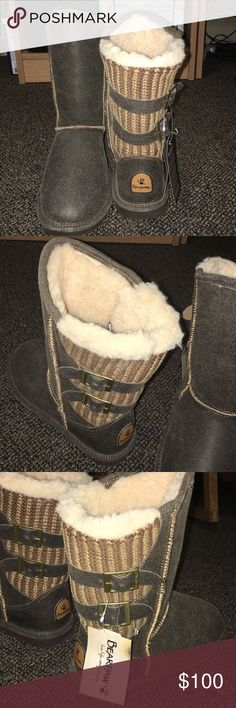 Brand new with tags BEARPAW BOOTS NEVER WORN NWT! Brand new Bear Paw boots! Tags on side and price tag on bottom! Never worn. Tried on twice! Thought I'd wear them but I have not. They would make a great Christmas present or great boots for the winter! Fur all inside! No scuff marks! Great brand new shoes OPEN TO OFFERS BearPaw Shoes Winter & Rain Boots