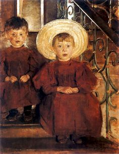 Olga Boznańska | Portret dwojga dzieci na schodach, 1898 (Portrait of Two Children on Steps, 1898).