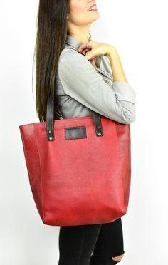 Premium Leather Tote bag, Large Tote Bag, School Bag, Tall Tote bag, Shopper Bag, Red shoulder bag, Brown leather handle, women handbag Suede Tote Bag, Tote Bags, Large Tote, Large Bags, Suede Leather, Brown Leather, Red Shoulder Bags, Shopper Bag, Leather Handle