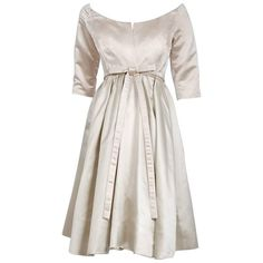e4e2ae6170f5 1959 Yves Saint Laurent for Christian Dior Haute-Couture Champagne Satin  Dress