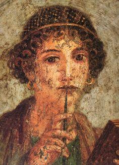 Fresque de Pompei : Portrait dit de Sapho (1er siècleaprès JC) - Musée de Naples, Italie