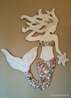 Mermaid Wall Art New Design, Wood Mermaid Vertical Style Beach Art, Two Sizes with Sea Shells and Glass