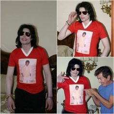 Collage of Michael wearing a Michael shirt