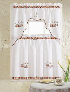 "embroidered chef black 5-piece kitchen curtain set (58""x24""), size"