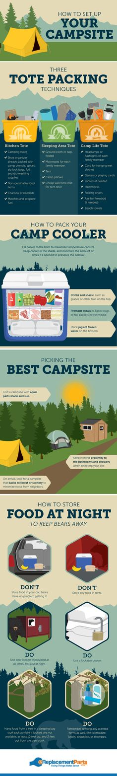 Do you know how to pack for a camping trip? Find tips for organizing gear, finding the right site, and setting up your campsite!How to pack for a camping trip and organize your campsite Camping Info, Camping Bedarf, Winter Camping, Camping Checklist, Camping Essentials, Camping Survival, Camping With Kids, Family Camping, Outdoor Camping