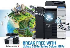 BREAK FREE WITH bizhub C554e Series Colour MFPs www.compareprintsolutions.com.au Konica Minolta, Break Free, Tech, Colour, Color, Technology, Colors