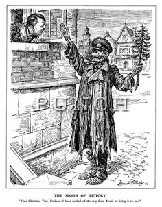 "The Spoils of Victory. ""Your Christmas Tree, Fuehrer - I have walked all the way from Russia to bring it to you."" (a ragged skeleton of a German soldier brings a small Christmas tree back to Germany) - classic Punch magazine cartoon by Bernard Partridge and an excellent example of the type of English dry wit and war propaganda of the time, 1941."