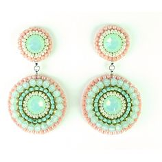 Mint peach earrings - mint coral pink swarovski crystal chandelier earrings - bridal wedding bridesmaids statement jewelry unique gift (€95) found on Polyvore