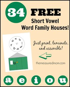 34 free short vowel word family houses the measured mom Check out this giant set of 34 FREE short vowel word family houses!