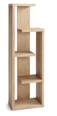Modern bookcase upholstered in reclaimed look driftwood ash and ash veneer with lightly distressed driftwood finish