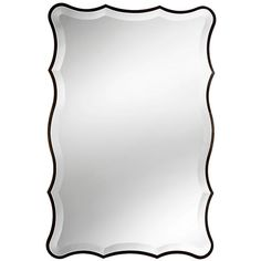 "Improvements Scalloped Edge Mirror-20"" x 30"" ($100) ❤ liked on Polyvore featuring home, home decor, mirrors, bathroom accessories, bathroom mirror, mirror, scalloped edge mirror, scalloped beveled mirror, scalloped mirror and black home decor"