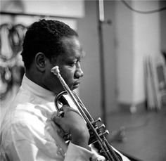 Clifford Brown's death in a car accident at the age of 25 was one of the great tragedies in jazz history. Already ranking with Dizzy Gillespie and Miles Davis as one of the top trumpeters in jazz…Brown died in 1956.      art: photo of Clifford Brown by Herman Leonard in NYC, 1954