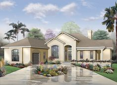 Florida Style House Plans - 2620 Square Foot Home , 1 Story, 3 Bedroom and 2 Bath, 3 Garage Stalls by Monster House Plans - Plan 5-562