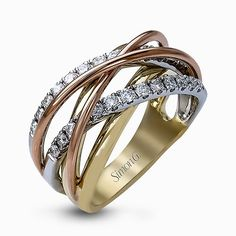 Featuring a distinctive contemporary intertwined design, this three-tone band is accentuated by .52 round cut white diamonds set in yellow, white and rose gold.