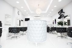 Hair salon- MS DIVA. OBESESSION styling chairs and OBSESSION reception made with Svarowski crystals  by AYALA salon furniture. Glamour  salon design. #Salonideas #salonchairs #Unusualdesign