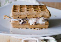 ice cream muesli waffle.