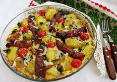 Cartofi la cuptor cu ouă și cârnați