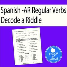 Preterite -AR Verbs (Regular verbs only!) Practices | The ...