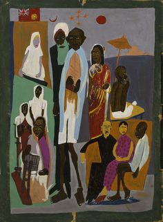 For India and China by William H. Johnson / American Art✖️More Pins Like This At FOSTERGINGER @ Pinterest✖️
