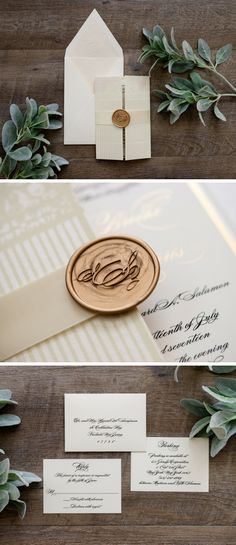 A custom gatefold wedding invitation with silk ribbon, gold thermography, a monogrammed invitation liner and a custom monogram wax seal.