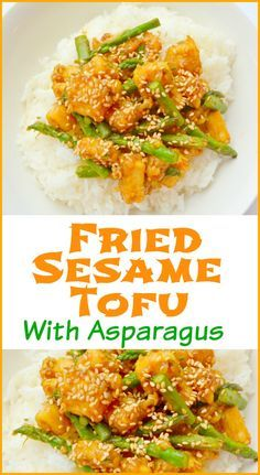 Fried Sesame Tofu With Asparagus