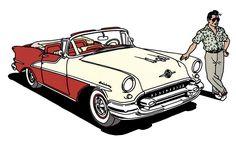 Ray Banana with an Oldsmobile Starfire 98 1955.