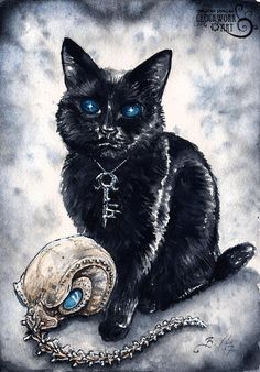 The Endless: Dream - Fine Art Watercolour Sandman Black Cat Print