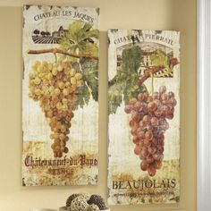 Set of 2 Vineyard Prints Vineyard, Vintage World Maps, Wall Art, Antiques, Prints, Fan Blades, Image, Alchemist, Color