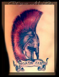 Leonidas spartan helmet tattoo with spartan trifectia colors