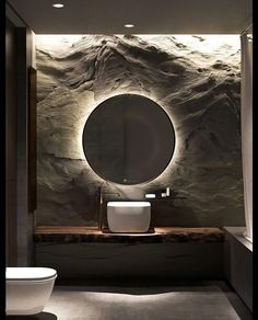 Textured wall with backlit mirror. Textured wall with backlit mirror. Modern Bathroom Design, Bathroom Interior Design, Modern Interior Design, Interior Architecture, Contemporary Interior, Design Bedroom, Stone Interior, Interior Livingroom, Bathroom Designs