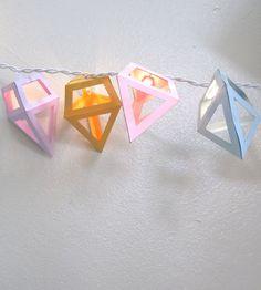 Pastel Diamond String Lights - Geometric Paper Jewels - 20 Party Bulbs. $28.00, via Etsy.
