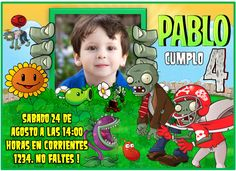 Plants vs Zombies Invitation - Birthday printable invitation - DIY editable texts de FiestaImprimible en Etsy