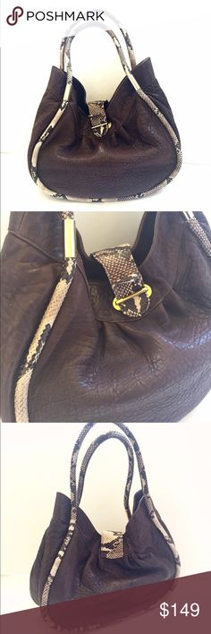 "Paolo Masi Brown Leather Bag Luxurious and gorgeous brown leather bag with snake skin piping and double handles/straps, gold tone hardware, interior with 3 compartments, and zippered pocket. Made in Italy! Worn one time only and in outstanding condition. Has very small scratches in hardware only. Width 14"" at its widest, height 11"" at its highest, depth 5"", strap drop 8.5"". paolo masi Bags Hobos"