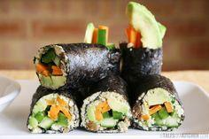 raw vegan nori rolls with sweet spicy sauce