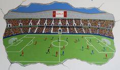 Muurschildering voetbal stadion