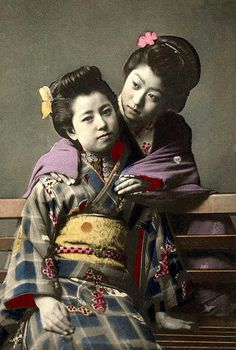 There's just something nice about an old photo of two Geisha or young Maiko in an affectionate pose.