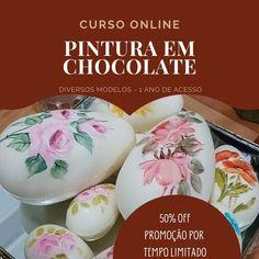 Curso Online de Pintura para Chocolate Breakfast, Cake, Food, White Chocolate, Hand Painted Cakes, Easter Eggs, Wafer Cookies, Brazil, Pintura