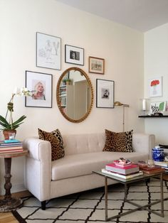 Simple gallery wall with mirror // Katie Armour Taylor