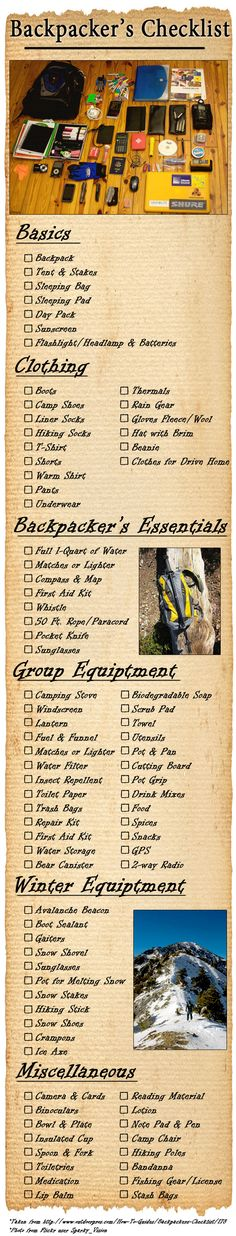 This infographic collects the essentials for a good backpacking trip and organizes them in an easy to use way. Great for making sure you don't forget