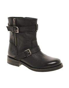 Enlarge ASOS AMERICA Leather Biker Boots