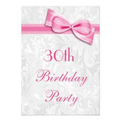 Shop Birthday Party Damask and Pink Faux Bow Invitation created by Sarah_Designs. Personalize it with photos & text or purchase as is! 75th Birthday Parties, 80th Birthday, Birthday Ideas, 90th Birthday Invitations, Invites, Wedding Invitations, Birthday Cards For Women, Girly, Personalized Invitations
