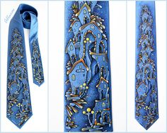 "Hand-painted Silk Tie ""Street Lights"". Blue Silk Tie. One of a kind original artwork on 100% silk satin. Ready to ship. accessories unique silk tie one of a king silk painting street lights Lights hand painted tie silk painting tie gift for him blue silk tie Father's day Gift 105.00 USD #goriani"