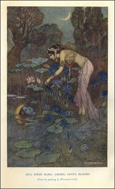 """Warwick Goble - """"Sita Finds Rama Among Lotus Blooms"""". illustration for """"Indian Myth and Legend"""" by Donald A. Art And Illustration, Botanical Illustration, Fantasy Kunst, Fantasy Art, Warwick Goble, Edmund Dulac, Fairytale Art, Alphonse Mucha, Inspiration Art"""