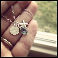 Tiny Starfish Charm with Natural Ocean Blue Gemstone Initial Necklace  by cocowagner, $29.90